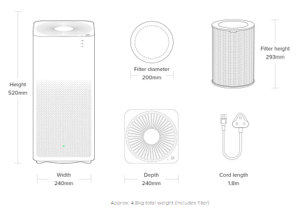MI Air Purifier 2 dimensions